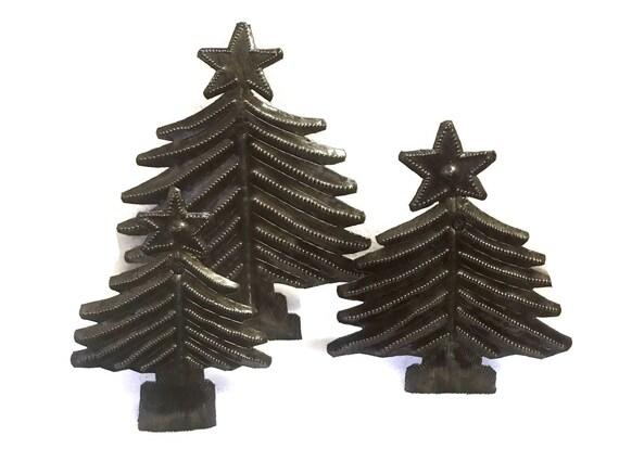 Christmas Tree (Set of 3), Handmade in Haiti, Holiday Gift Giving, Desktop Decor