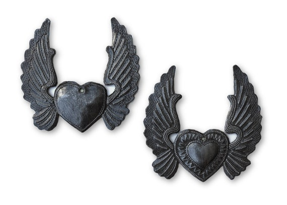 Small Metal Hearts with wings, Milagro charms,  Angel wings, set of 2 Ornaments, Eco-friendly gift, Limited Edition, Handmade in Haiti