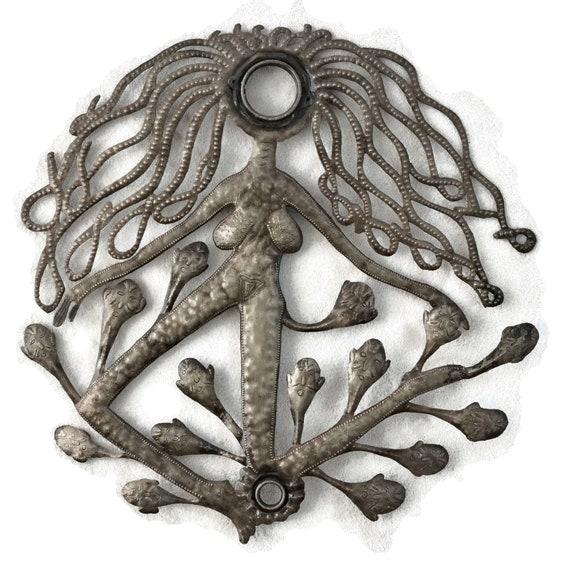 Haitian Voodoo Woman, Haiti Recycled Metal Art, One-Of-A-Kind 24x23