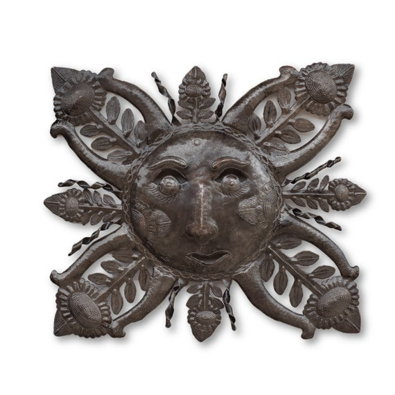 Sun Flower, Quality Haitian Metal Sculpture, One-of-a-Kind 15.5x13.5