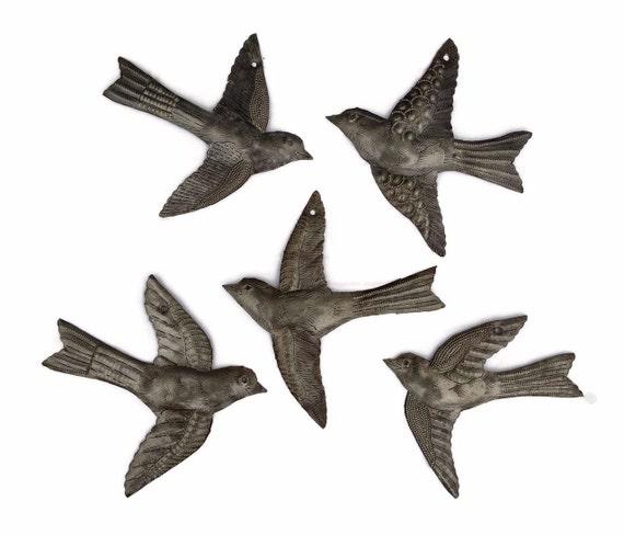 5 Garden Birds, Handmade Metal Wall Art, Haiti, Folk Art, Bird Collectibles, Recycled Hammered Steel