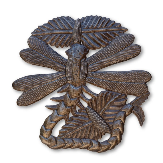 Long Tailed Dragonfly, Quality Haitian Metal Craftsmanship, One-of-a-Kind, eco-friendly gift 10.5x10.5