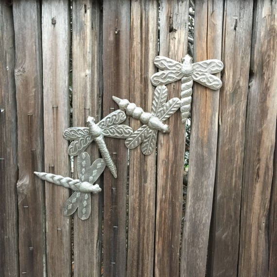 "Group of Dragonflies, Metal Wall art, eco-friendly gift  6.5"" x 19.5"""