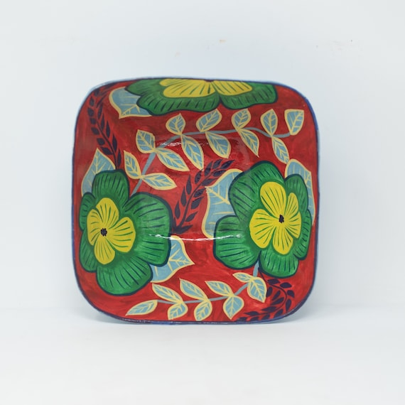 """Small Square Floral Bowl, Yellow & Green Flowers, One-of-a-Kind Dinnerware 6.5""""x6.5"""""""