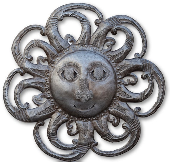 Happy Fall Sun Made in Haiti  From Reclaimed Metals, Limited Edition 22.5x22