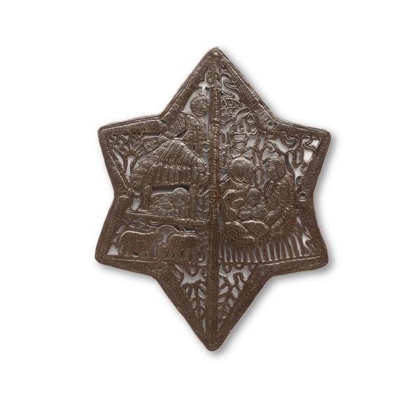 International Nativity Star, Uniquely Handcrafted Haitian Metal Star, Novelty Gift ,One-of-a-Kind 21x16