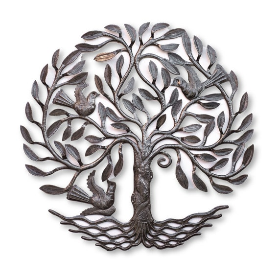 Handmade Metal Tree of Life with Beautiful Trunk, One-of-a-Kind Fair Trade Art 23x23in