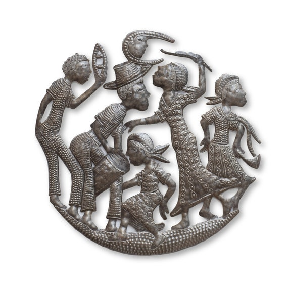 Rah Rah Band Playing Thru Haiti, Inspirational Music Artwork, Metal Wall Hanging Limited Edition Fair Trade Sculpture, 21x21