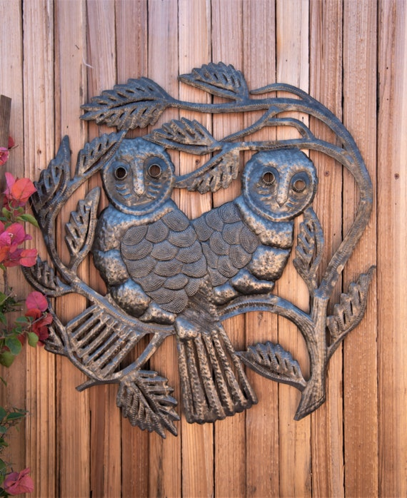 "Whimsical pair of Owls, Large Owl, Metal Wall Art, Handmade in Haiti, Steel Drum Decor, Rustic farmhouse decor 22"" x 22"""
