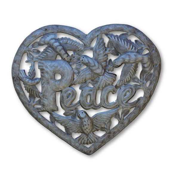 Love & Peace Birds, Quality Haitian Recycled Metal Sculpture, One-of-a-Kind 17x18