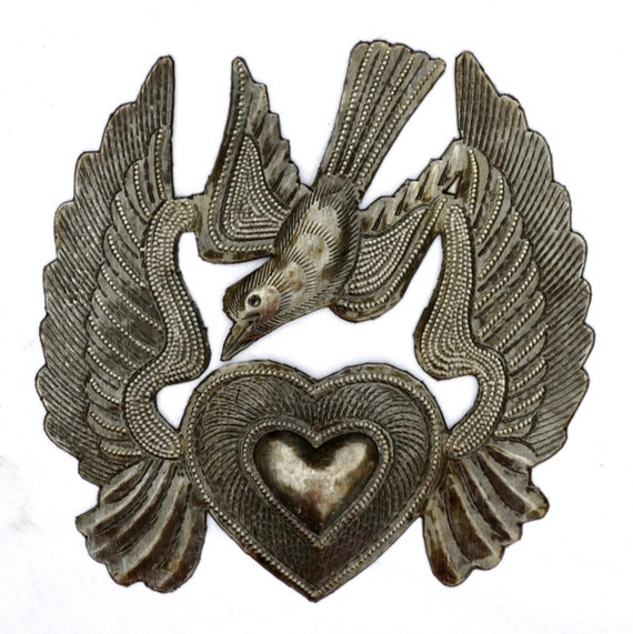 Metal Heart with Wings, Flying Heart and Bird, Recycled Steel, Haiti, Hand Cut in Haiti