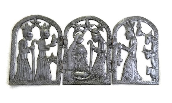 "Small Triptych Nativity, Haitian Metal Holiday Decor, 11.75"" X 23.75"""