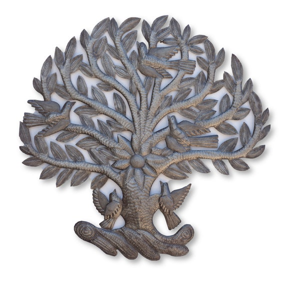 Round Tree of life with birds and Flowers, Decorative Artwork from Haiti, Handmade from Recycled Steel Barrels, One-of-a-Kind 24x23