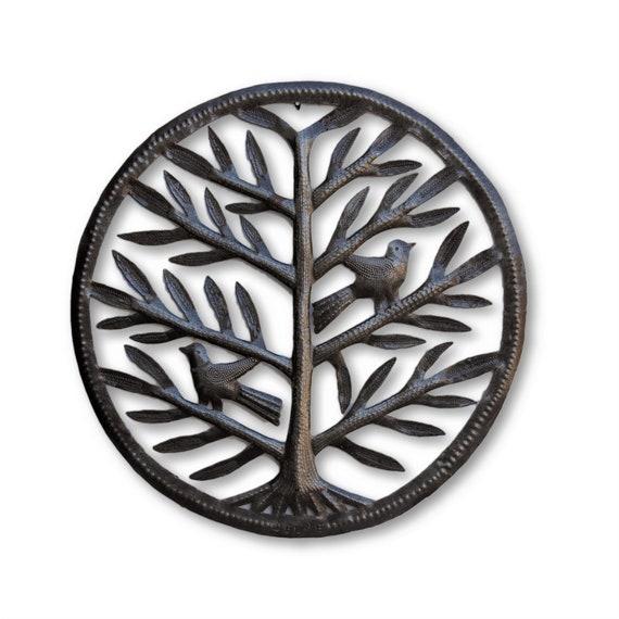 """Metal Tree, Garden Petals and Birds, Handmade in Haiti, Hang indoor or outdoor, 14.5""""x 14.5"""""""