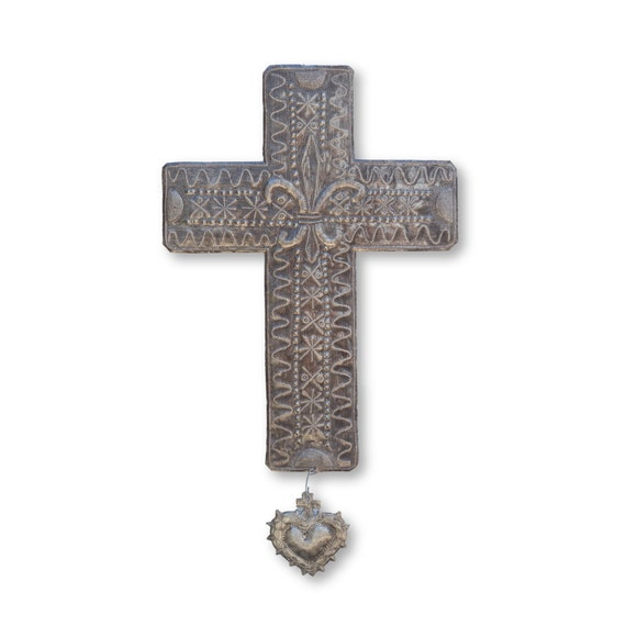 Fleur de Lis Cross Handmade in Haiti, Limited Edition Religious Art 14x24