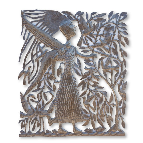 Haitian Home Decor, Angel Handcrafted by Michee Remy, One-of-a-Kind Fair Trade 30x35in.