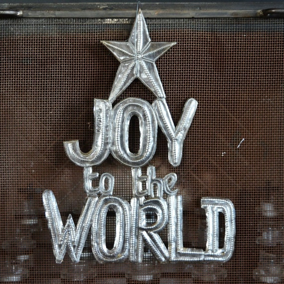 "Joy to the World Metal Sign, Christmas Wall Art, Festive Home Decor, Hang indoor and outdoor 17.5"" x 13.5"""
