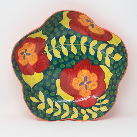 """Floral Shaped Bowl with Red & Orange Flowers, Paper Mache Plates, 10.25""""x10.25"""""""