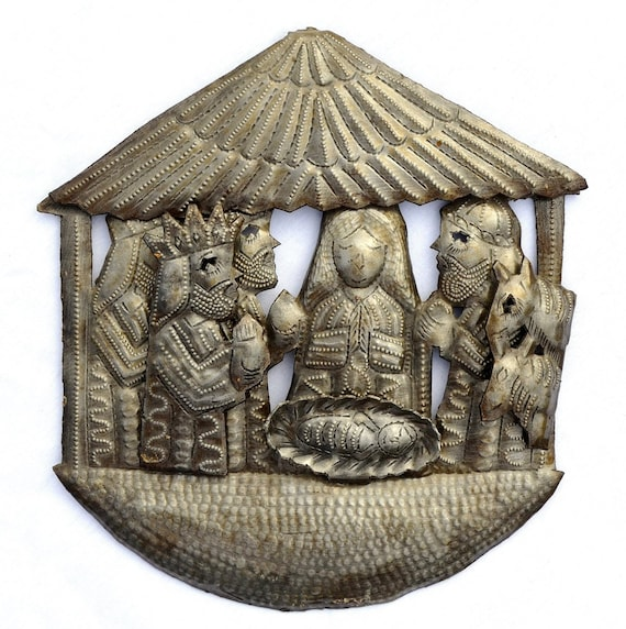 "Small Hanging Nativity, Christmas Decor, Mary and Joseph, Handmade in Haiti 8"" X 8"""