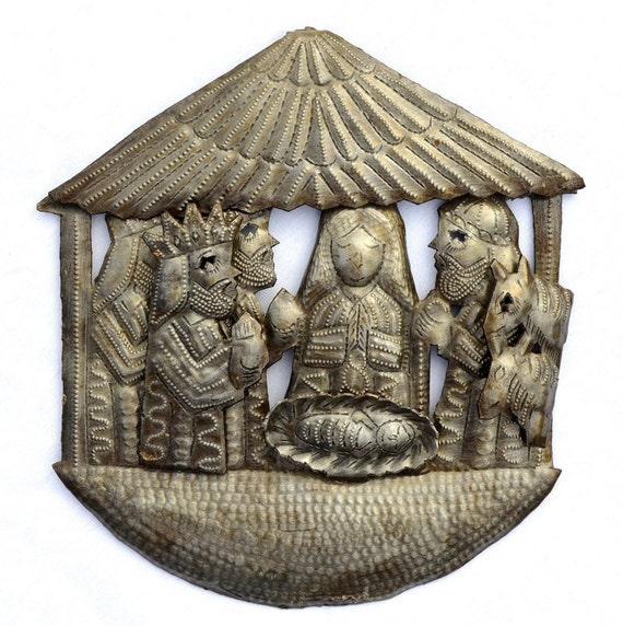"Hanging Nativity,Haiti Metal Art, Crech, Recycled Oil Drum, Fair Trade Project 8"" X 8"""