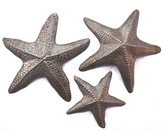 "Starfish, Set of 3, Nautical Home Decor, Recycled Wall Art, Novelty Gift 8"", 8"", and 5"""