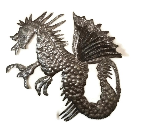 Dragon, Large Metal Wall Hanging Art, Unique Sculpture, Indoor Outdoor, Handmade in Haiti from Recycled Steel Barrels