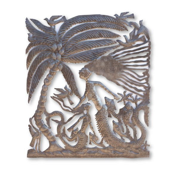 Haitian Beach Home Decor, Mermaid Island Handmade Sculpture, Fair Trade One-of-a-Kind Art 30x35in.