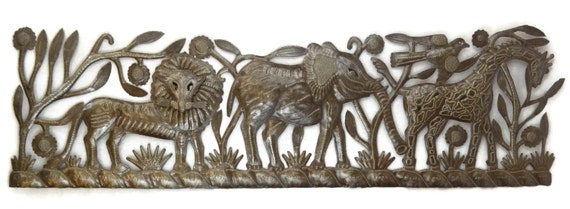 """Jungle Panel, Lion, Elephant, Giraffe, Tropical Artwork, Recycle Garden Outdoor Wall Art 32"""" x 12"""""""