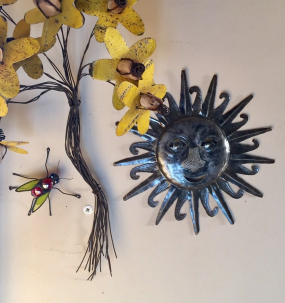 "Sun, Haiti Metal Art, Recycled Steel Handmade 11"" x 11"""