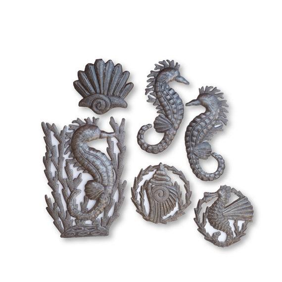 Sea Horses Swimming in the Ocean, Reclaimed Haitian Metal Sculptures