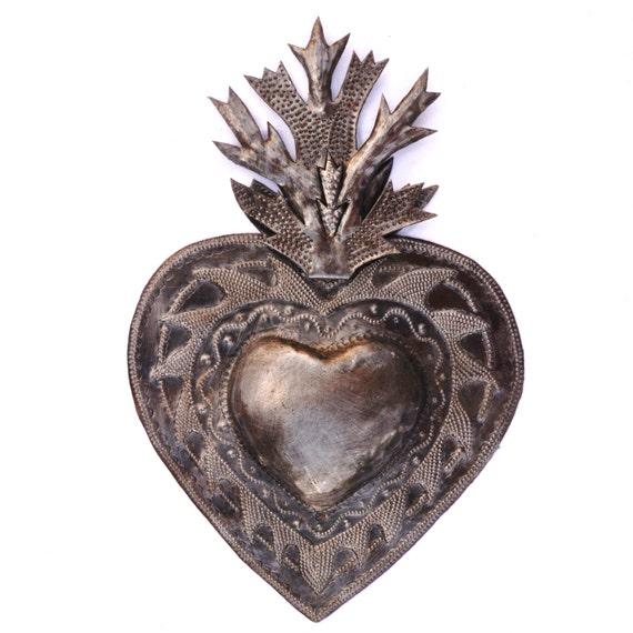 "Flaming Heart, Erzuli, Recycled Steel Art made in Haiti, Hand Cut in Haiti 7"" x 11"""