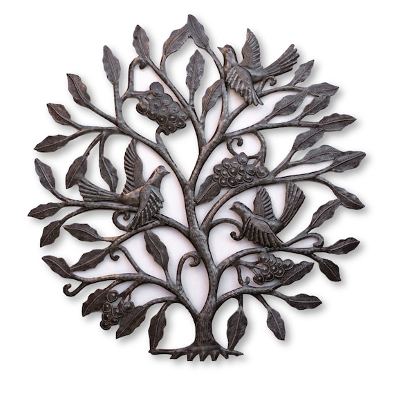 Haitian Metal Art, Grape Tree Handmade From Oil Barrels, One-of-a-Kind 24x24in.