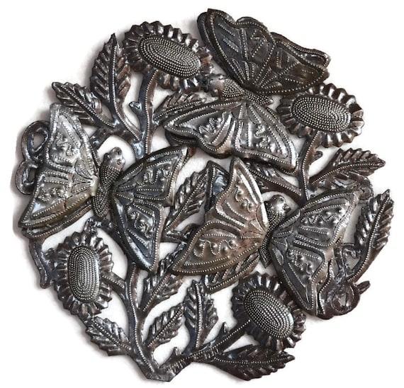 """Butterflies Garden Art Recycled Metal from Haiti, Gift Giving Idea, 12"""" x 12"""""""