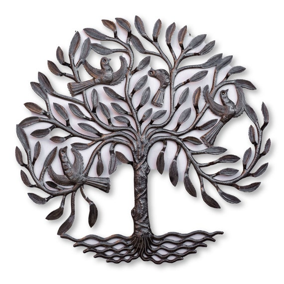Haiti Metal Tree of Life with Birds, One-of-a-Kind Fair Trade Handcrafted Art, 23x24in