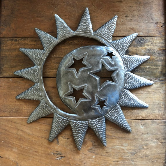 Sun in Moon Wall Sculpture, Reclaimed Outdoor Home Art, Backyard Fence Art 15 x 15 Inches