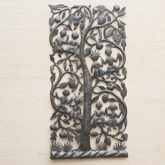 Kids on Tree of Life Large Metal Sculpture Handmade in Haiti, One-of-a-Kind 17.5x34.5