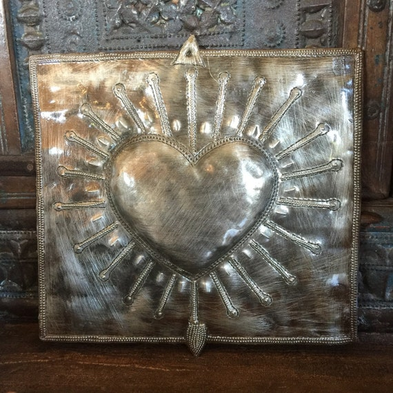 "Squared Milagro Heart, Handmade in Haiti from recycled oil drums, Metal Wall Art, 9"" x 9"""