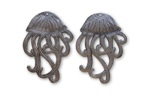 "Set of 2 ~ Jellyfish, Aquarium Beach Home Collection Accent Decor, Handmade in Haiti 5"" x 8"""
