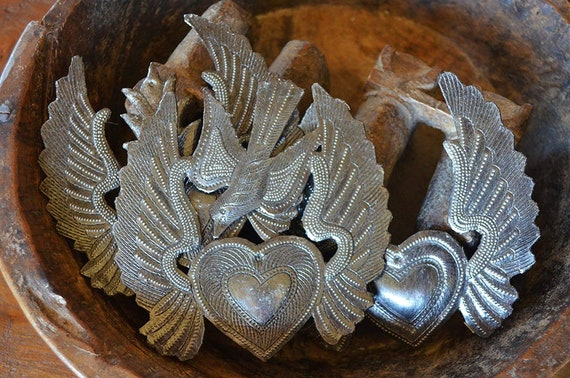 "Small Hearts, Set of 3, Heart with Wings, Flaming Heart, Flying Heart, Angel Wings, Mini Birds, Novelty Gift, Ornaments 5"" x 5.25"""