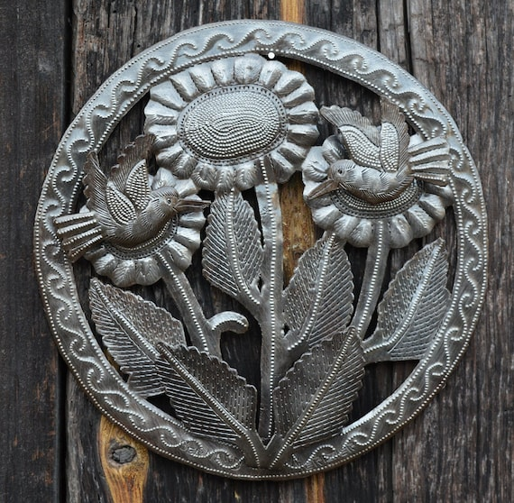 """Sunflower, Recycled Metal Art, Handcrafted in Haiti 9.5"""" x 9.5"""""""