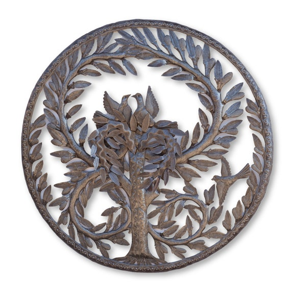 Tree of Life with 3D Leaves, One-of-a-Kind Haitian Metal Sculpture, 33x33