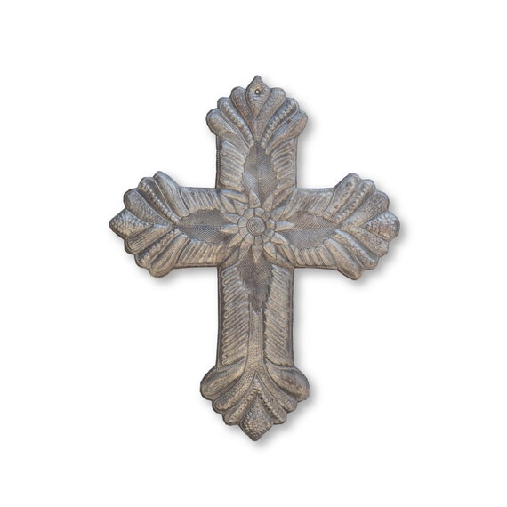 Simple Flower Cross Handcrafted in Haiti, One-of-a-Kind Religious Haitian Metal Art 13x16