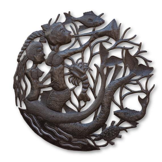 Breastfeeding Mermaid, Quality Haitian Metal Sculpture, One-of-a-Kind 23 x 23