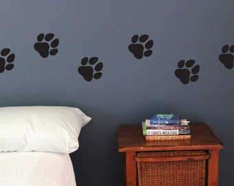 9d9c040109cf dog paw prints Wall Decals, Set of 10, Fun stickers removable pet shop pet  owner puppy