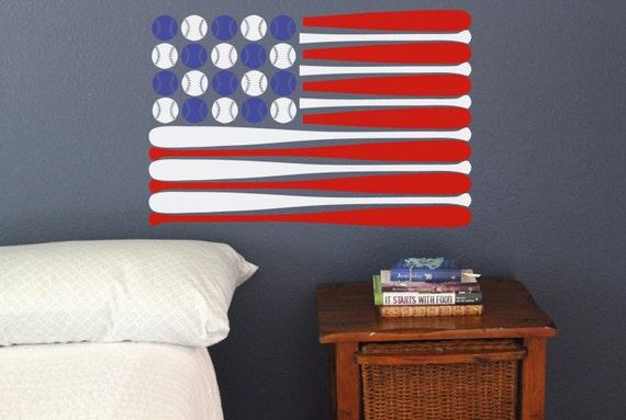 Baseball Bat American Flag Wall Decal America 4th Of July Red Etsy