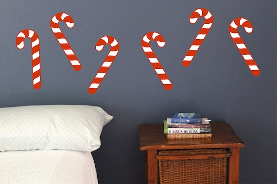 Candy Cane Wall Decals Set Of 10 Christmas Decoration Etsy