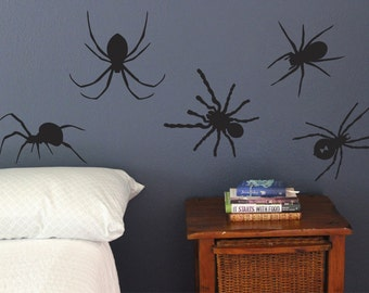 Spider Wall Decals, Set of 10, Big bugs, Scary Halloween Deco