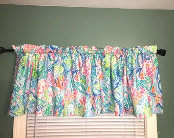 Lilly Custom made Valance Curtains in Pink Gypsea or Mermaids Cove PB Kids Sheets Nursery Kids Home Bath Pulitzer MTO Kitchen Sirens Calling