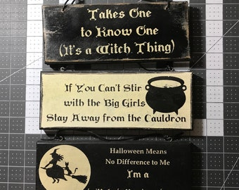 Set of 3 Witchy Signs, Witch Home Decor, Witch Sign, Witch Wall Decor Funny Witch Sign, Practical Magic
