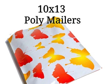 25 Orange/Yellow Butterfly Poly Mailers/Designer Poly Mailers/Size:10x13/Packing Supplies/Mailing Supplies/Peel & Seal